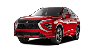 Front and side profile of a Red 2021-2022 Eclipse Cross